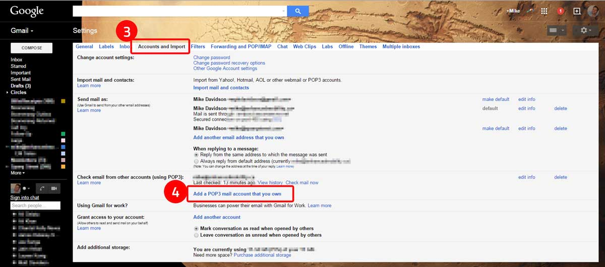 Gmail GoDaddy Email Steps 3 and 4